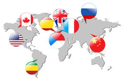 Flags of different countries on the white map. Stock Image