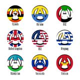Flags of different countries of the world in the form of a sign of anarchy vector illustration