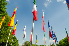 Flags of different nations. Flags of the world, a sea of ​​flags of different nations and organization Stock Photos