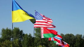Flags of different states sway on wind.Lots of flags of different countries fluttering in the wind. Flags of different states sway in the wind.Lots of flags of stock video footage
