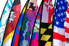 Flags on display. A variety of different flags, including the Stars and Stripes, on display Royalty Free Stock Images