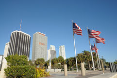 Flags Downtown Miami, Florida Royalty Free Stock Images