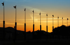 Flags at dusk Royalty Free Stock Photography