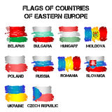 Flags of Eastern Europe countries from brush strokes Stock Photos