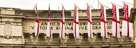 Flags of England on the Admiralty Arch London Royalty Free Stock Images