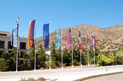 The flags at entrance of luxury hotel Royalty Free Stock Photos