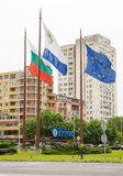 Flags at the entrance to the city of Burgas in Bulgaria Stock Photos