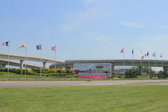 Flags at the entrance to John F. Kennedy International Airport in New York Royalty Free Stock Image