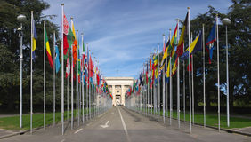 Flags at the entrance to UN Royalty Free Stock Photography