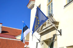 Flags of Estonia and the European Union. Stock Image