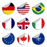 flags etiketter vektor illustrationer