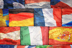 Flags of EU countries on bricks Stock Images
