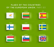 Flags of EU countries. Vector Flags of EU countries on a geen background. Part 03 Stock Photos