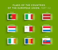 Flags of EU countries. Vector Flags of EU countries on a green background. Part 02 Royalty Free Stock Image