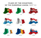 Flags of EU countries Royalty Free Stock Photo