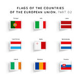 Flags of EU countries. Vector Flags of EU countries on a white background. Part 02 Stock Images