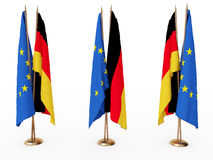 Flags of EU and the Germany Stock Image