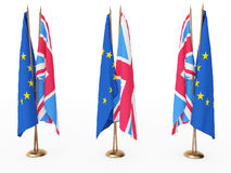 Flags of EU and the Great Britain. Isolated white Royalty Free Stock Photos