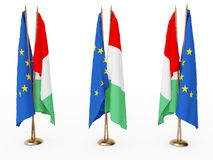 Flags of EU and the Italy Stock Image