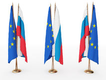 Flags of EU and the russia Royalty Free Stock Photography