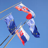 Flags of EU and Slovakia Stock Images