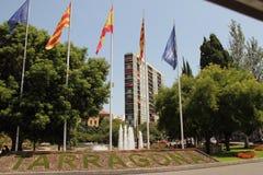 Flags of EU, Spain, Catalunia, Tarragona. Flags of European union, Spain, Catalunya, Tarragona city, august 2018 stock photo