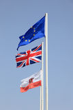 Flags of the EU, UK and Gibraltar Royalty Free Stock Image