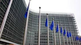 Flags of EU waving in wind near European Parliament stock footage