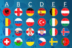 Flags of Euro 2016 football championship. Vector button flags with country names and groups. Soccer tournament. Gossy round buttons or badges concerning flags Royalty Free Stock Photo