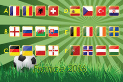 Flags of Euro 2016 on grass background and soccer ball. 24 nations. Vector icons Royalty Free Stock Image