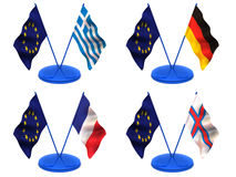 Flags. Euro, Greece, Germany, France, Farrery Royalty Free Stock Image