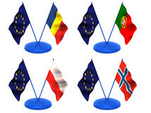 Flags. Euro, Portugal, Romania, Poland, Norway Royalty Free Stock Photos