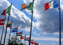 Flags of Europaen Union countries Stock Image