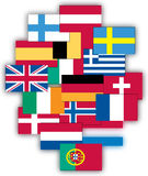Flags of Europe. Collection of Europe country flags in s stock illustration