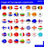 Flags of Europe. Set of European flags of stone-like shape Stock Photos