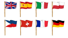 Flags of Europe. Illustraion of eight european flags on white background Stock Image
