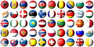 Flags of Europe. Complete collection of all European flags shaped as balls Royalty Free Stock Photography