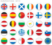 Flags of Europe. 30 detailed European flag buttons Stock Image