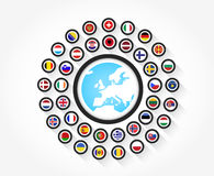 Flags from Europe. Set of european flags in circle icon with the shape of europe Stock Photo