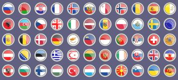 Flags of the Europe. Set of icons. Royalty Free Stock Images