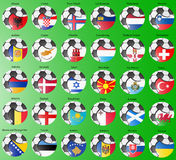 Flags of the Europe with soccer ball. Stock Images