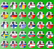 Flags of the Europe with soccer ball. Royalty Free Stock Photography