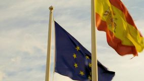 Flags of Europe and Spain. Flapping in the breeze stock video
