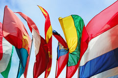 Flags of Europe states against cloudy sky Royalty Free Stock Photography