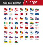 Set of European flags - Vector illustrations Royalty Free Stock Photo
