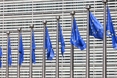 Flags at European Commission in Brussels Stock Photography