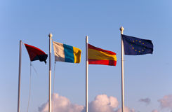 The flags of the european community countries. Sunny Day,The flags of the european community countries stock photo