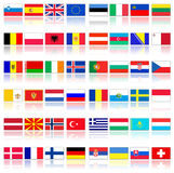 Flags of european countries. Flags of all european countries; Icon set with reflection isolated over white background stock illustration