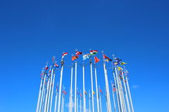 Flags of European countries. Against the blue sky Royalty Free Stock Images