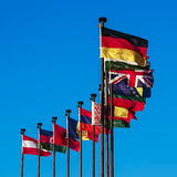 Flags of European countries. National flags of European countries. Business integration of the world community in the global economic processes in the interests Royalty Free Stock Image